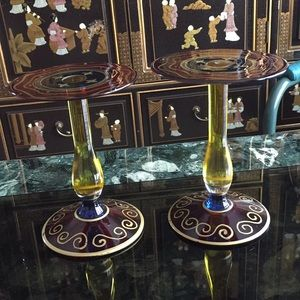 Pair of Vintage Handpainted Candle Holders